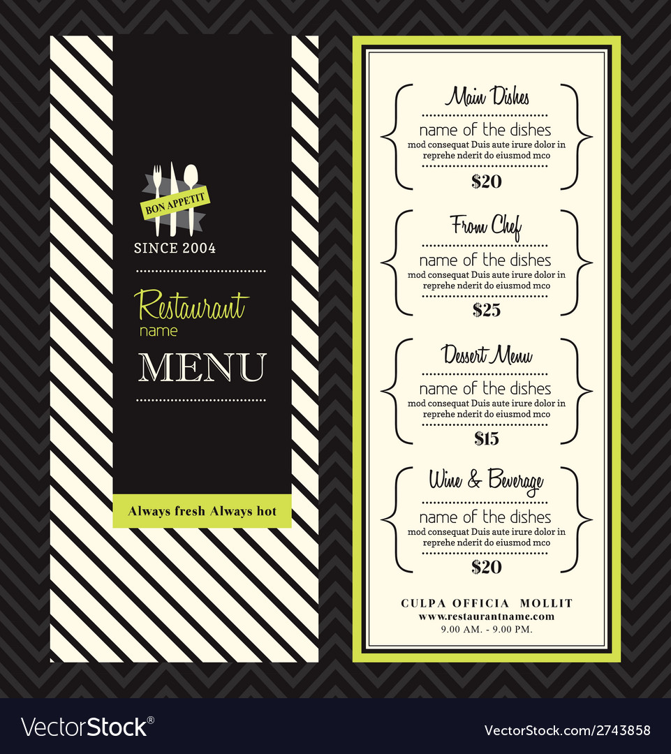 Modern restaurant menu design template layout vector | Price: 1 Credit (USD $1)
