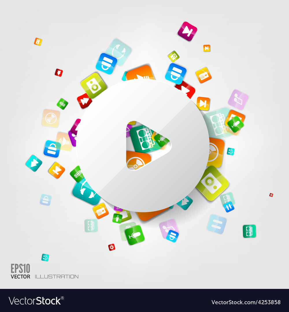 Play button icon application buttonsocial media vector | Price: 3 Credit (USD $3)