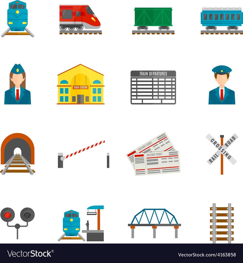 Railway icons set vector   Price: 1 Credit (USD $1)