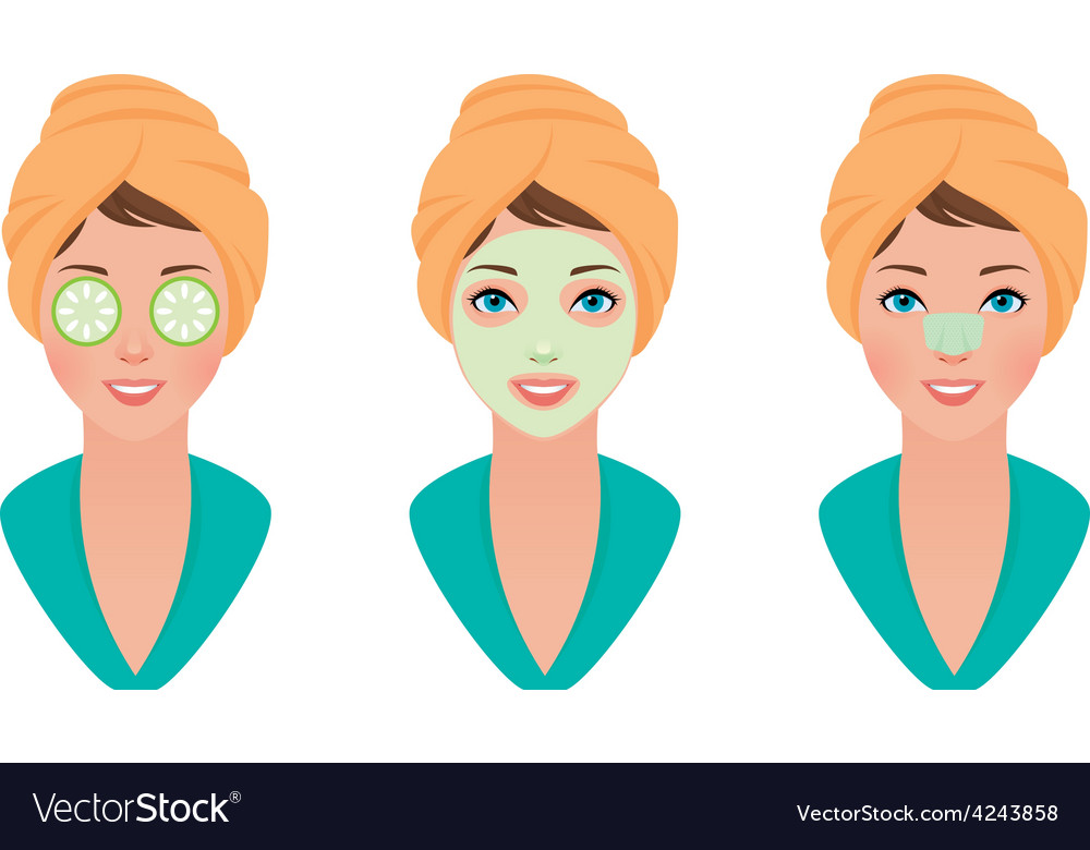 Set girl with clay mask on her face with a mask of vector   Price: 1 Credit (USD $1)