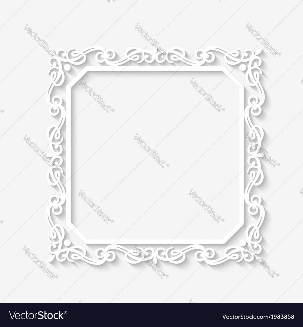 Vintage baroque white frame vector | Price: 1 Credit (USD $1)