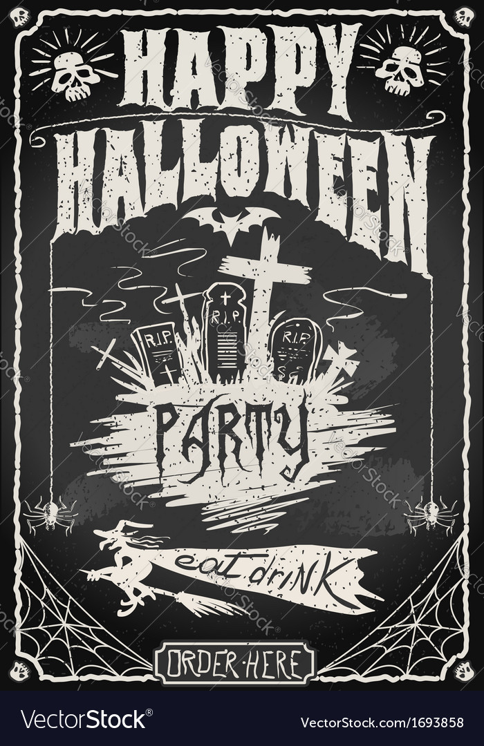 Vintage blackboard for halloween party vector | Price: 1 Credit (USD $1)