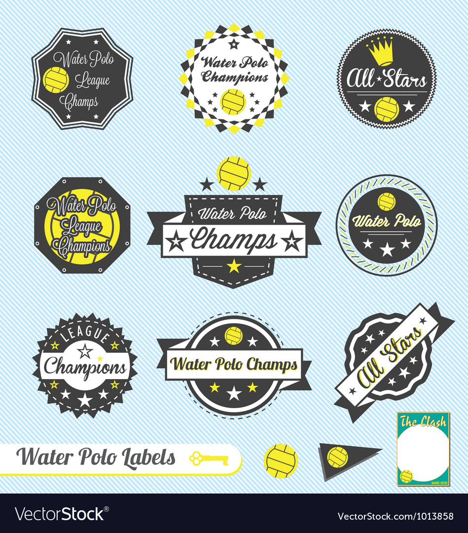Water polo league champions labels vector | Price: 1 Credit (USD $1)