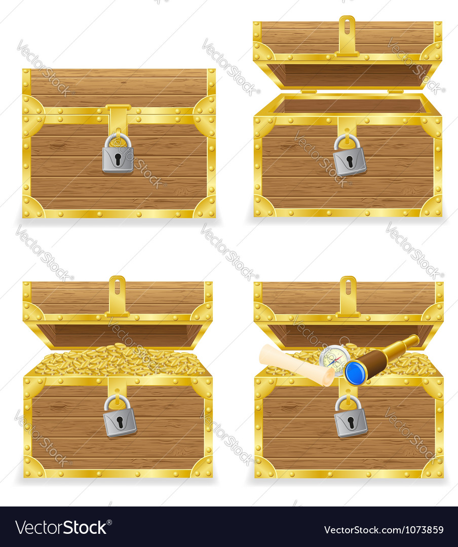 Antique treasure chest vector