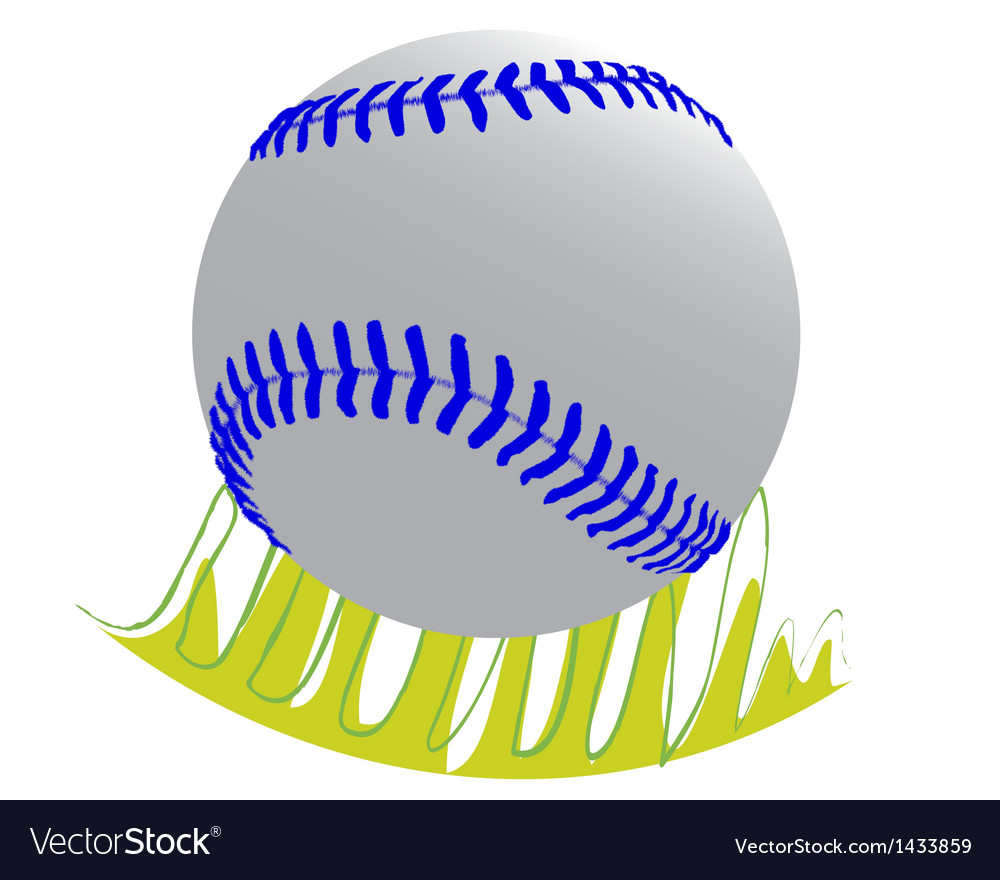 Baseball ball on grass vector | Price: 1 Credit (USD $1)