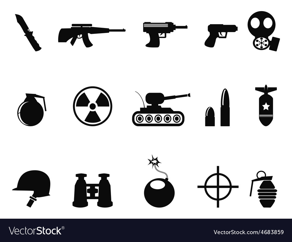 Black military and army icons set vector | Price: 1 Credit (USD $1)