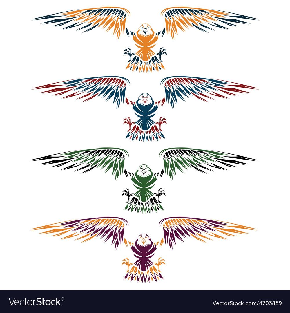 Colourful eagles set design template vector   Price: 1 Credit (USD $1)