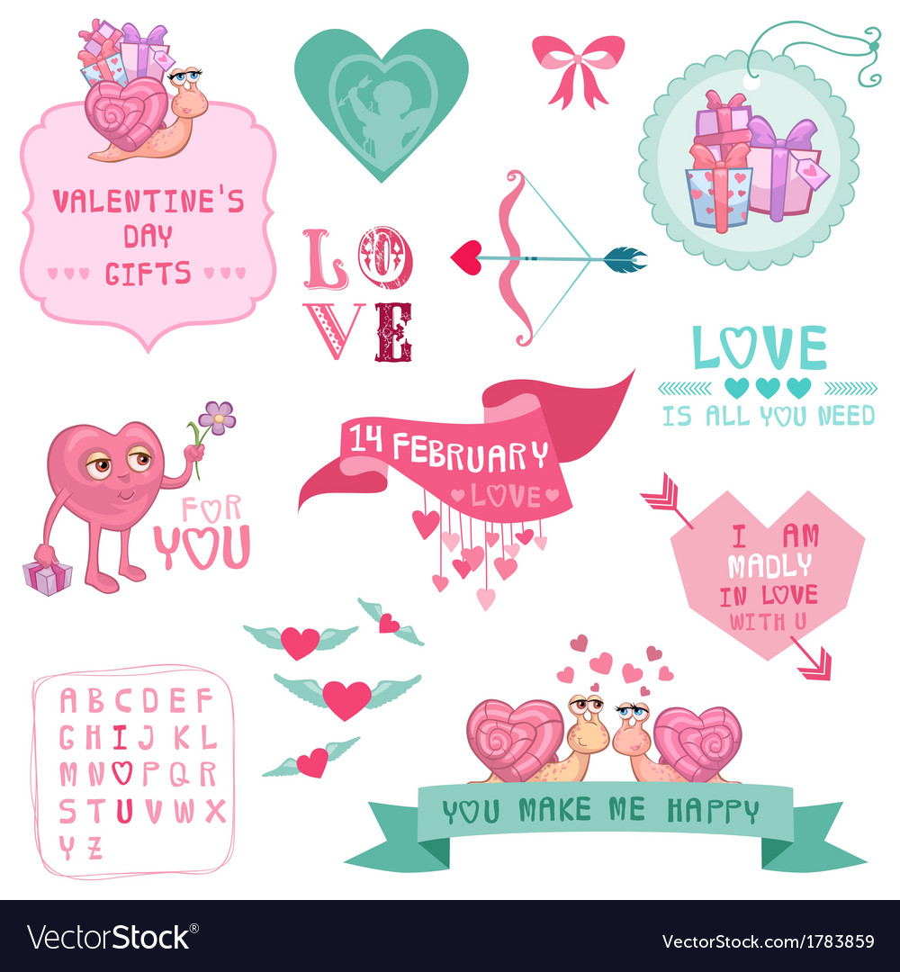 Cute valentines day and love set vector | Price: 1 Credit (USD $1)