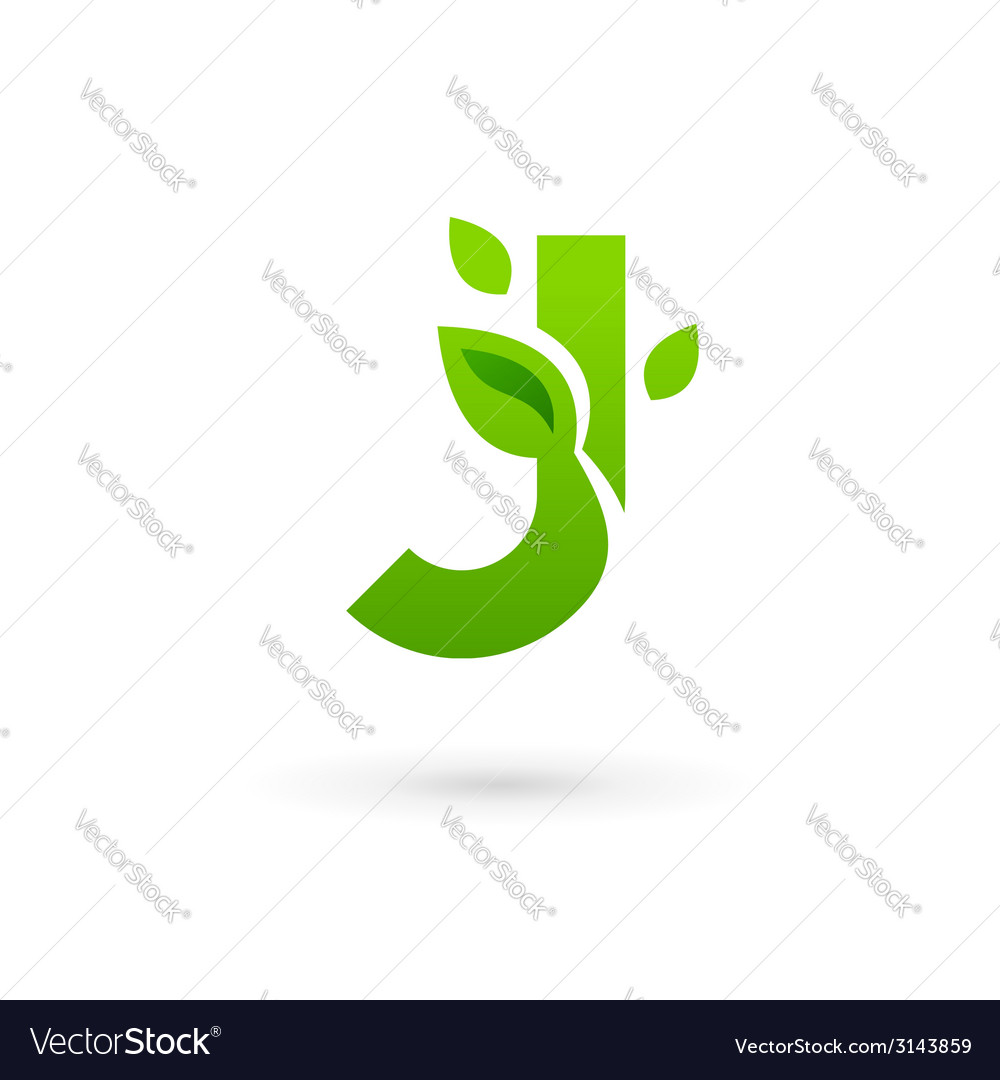 Letter j eco leaves logo icon design template vector | Price: 1 Credit (USD $1)