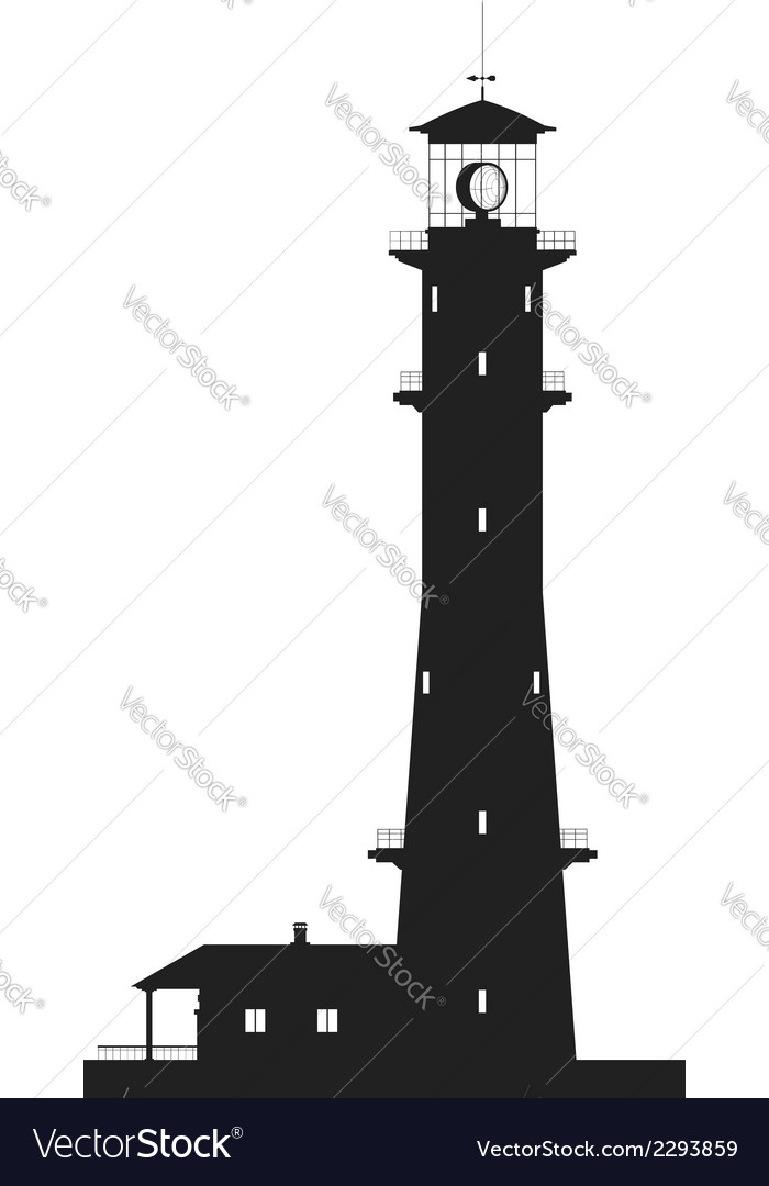 Lighthouse silhouette of large lighthouse isolated vector | Price: 1 Credit (USD $1)