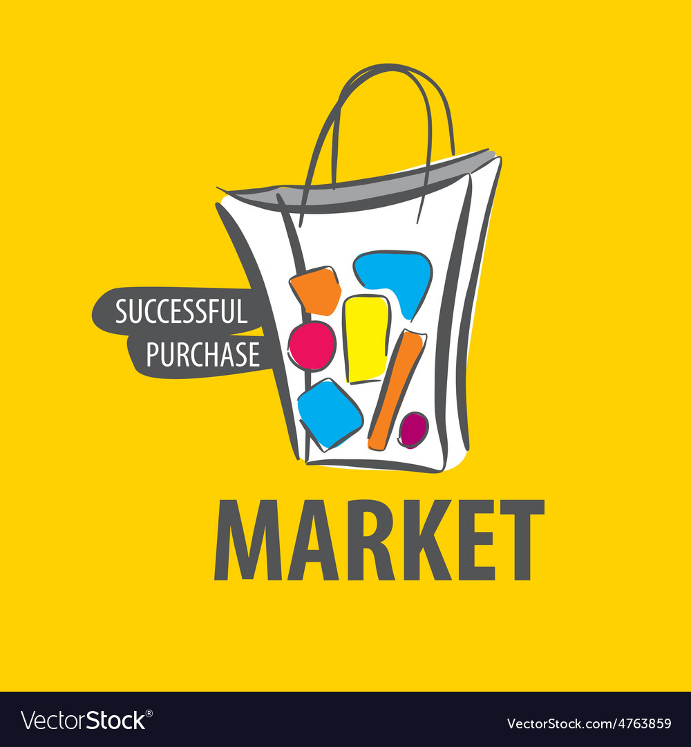 Logo painted bag on a yellow background vector | Price: 1 Credit (USD $1)