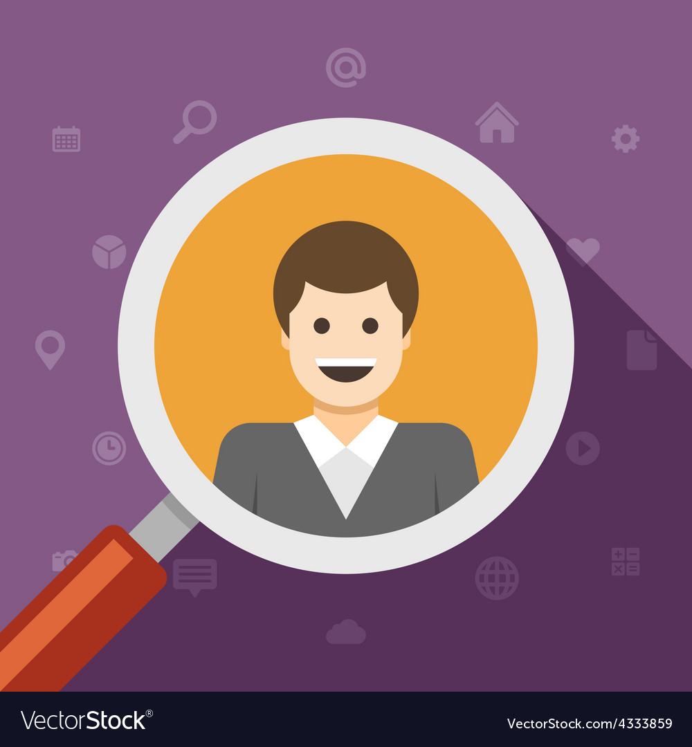 Magnifying glass zoom business man vector | Price: 1 Credit (USD $1)
