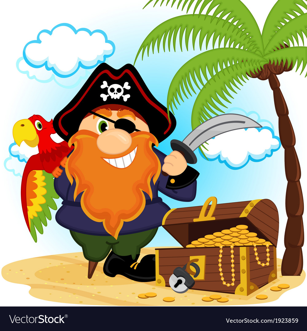 Pirate with parrot vector | Price: 1 Credit (USD $1)