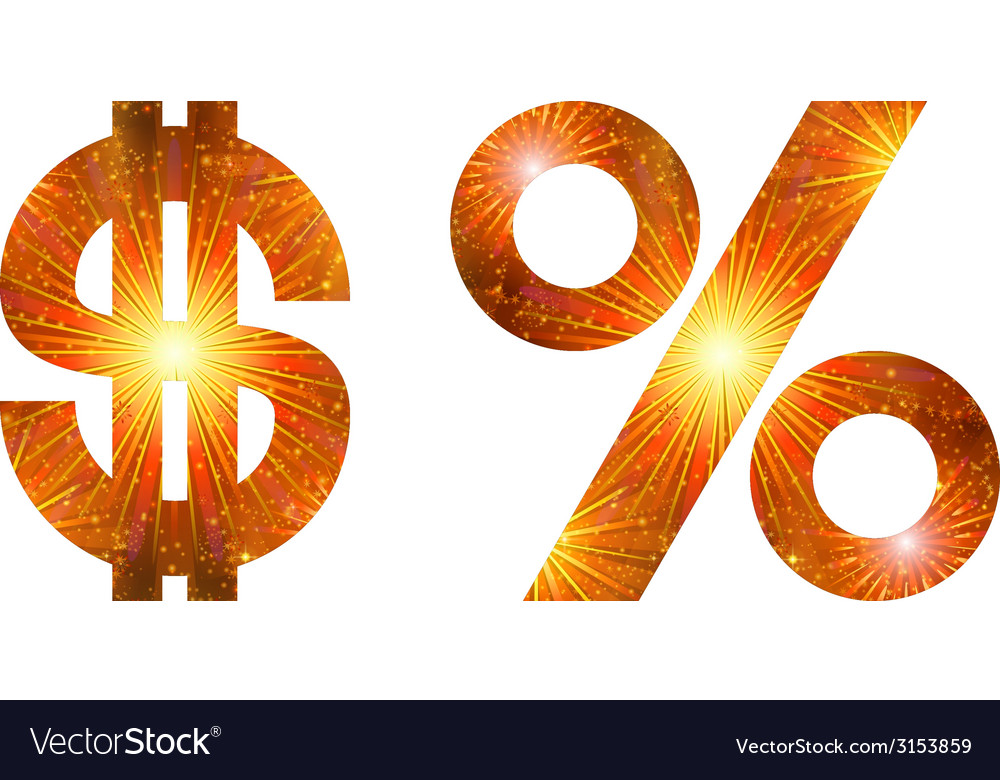 Set of signs dollar and percent firework vector | Price: 1 Credit (USD $1)