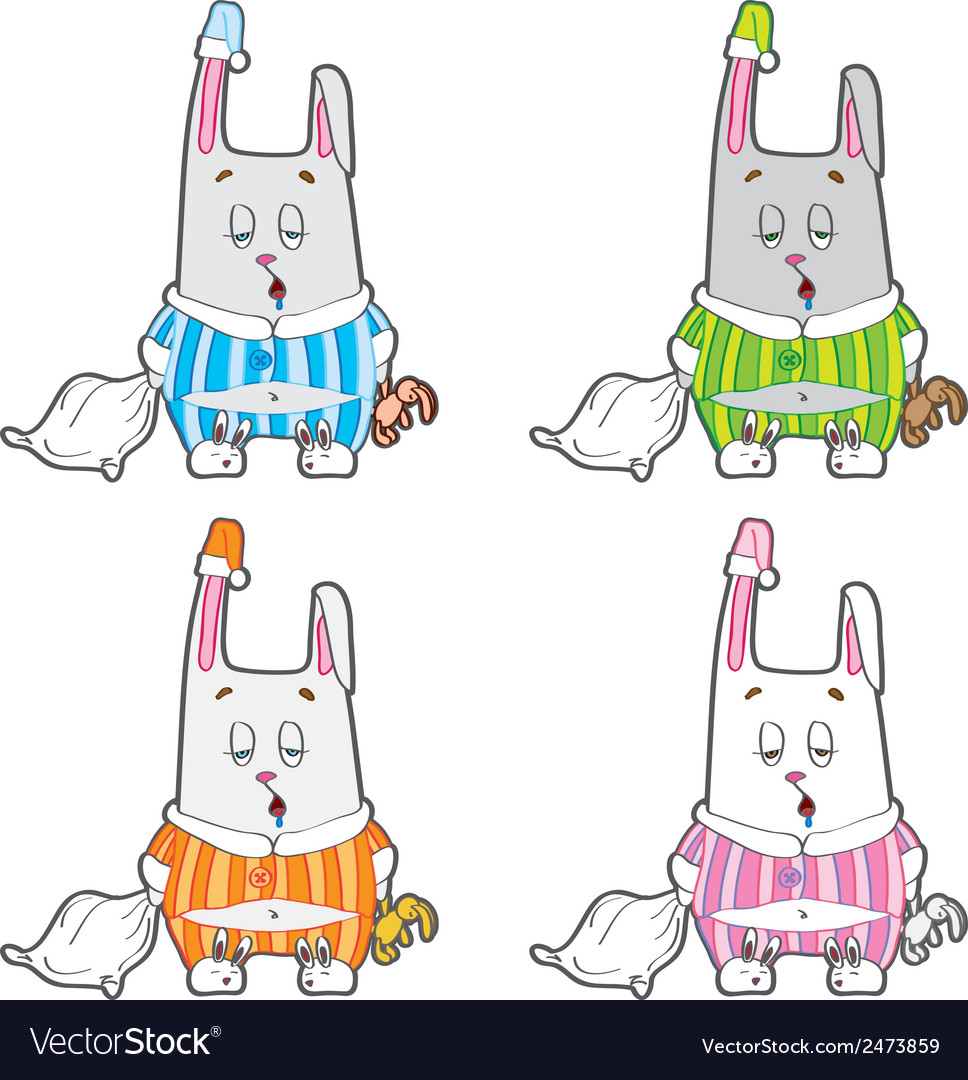 Sleepy bunny pajamas vector   Price: 1 Credit (USD $1)