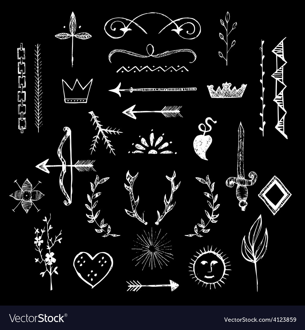 Various hand drawn design elements vector | Price: 1 Credit (USD $1)