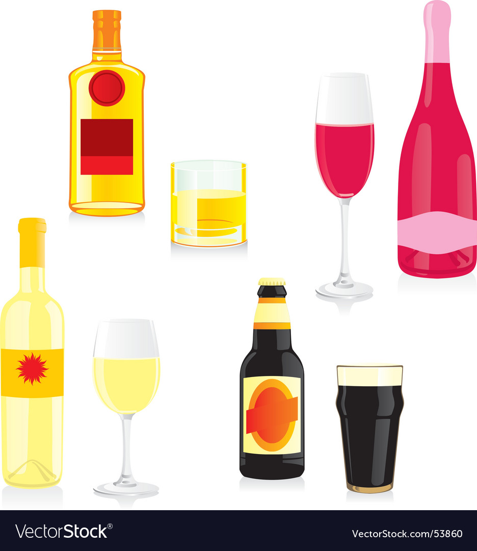 Bottles and glasses vector | Price: 1 Credit (USD $1)