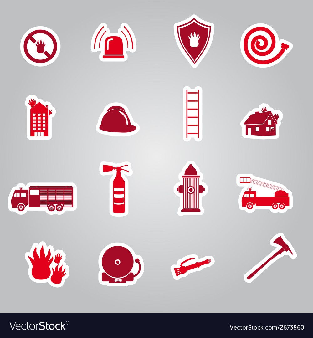 Fire brigade stickers set eps10 vector | Price: 1 Credit (USD $1)
