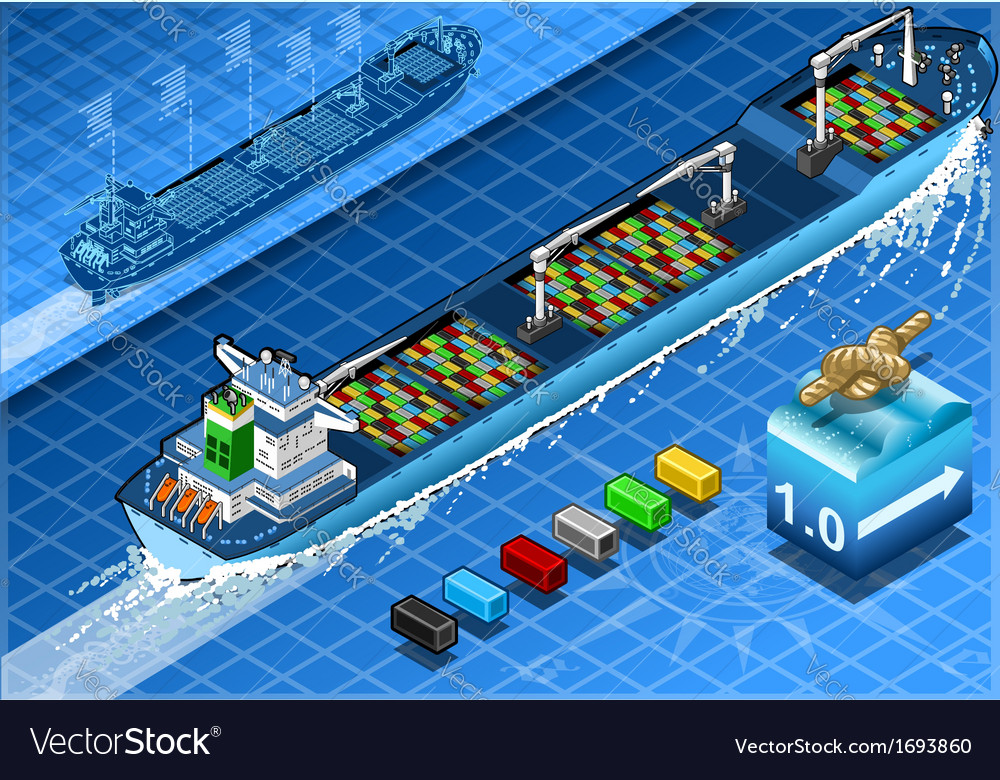 Isometric cargo ship with containers in rear view vector | Price: 1 Credit (USD $1)