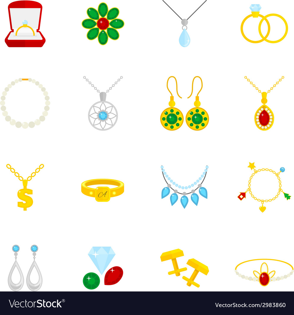 Jewelry icon flat vector | Price: 1 Credit (USD $1)