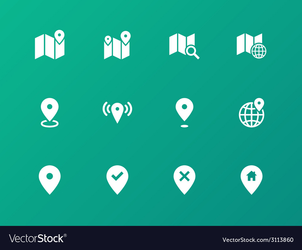 Map icons on green background gps and navigation vector | Price: 1 Credit (USD $1)