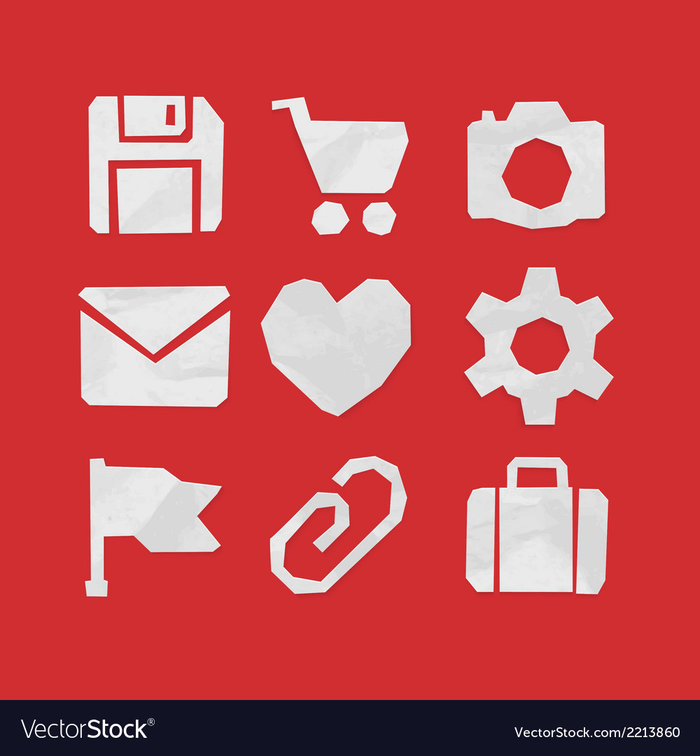 Paper cut icons for web and mobile applications vector | Price: 1 Credit (USD $1)