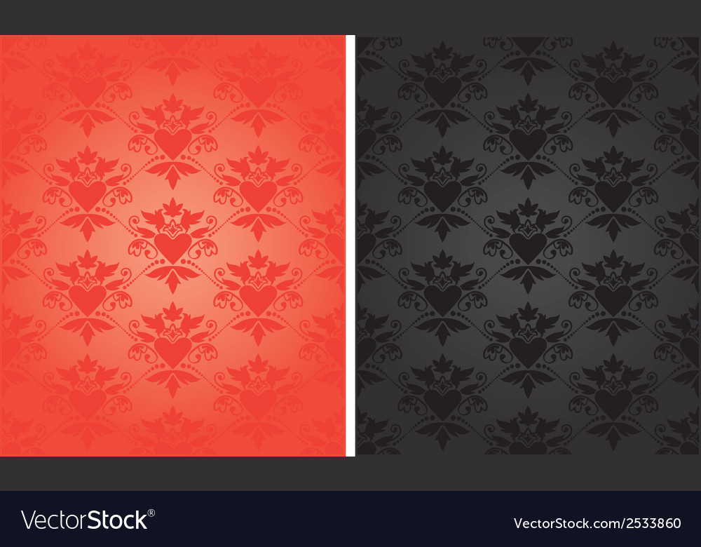 Pattern baroque with heart vector | Price: 1 Credit (USD $1)