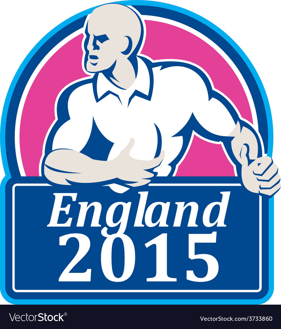 Rugby player running ball england 2015 retro vector | Price: 1 Credit (USD $1)
