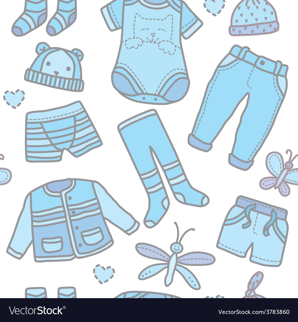 Seamless pattern baby boy clothes vector | Price: 1 Credit (USD $1)