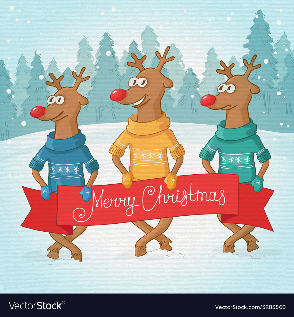 Three deer on the background winter forest vector   Price: 1 Credit (USD $1)