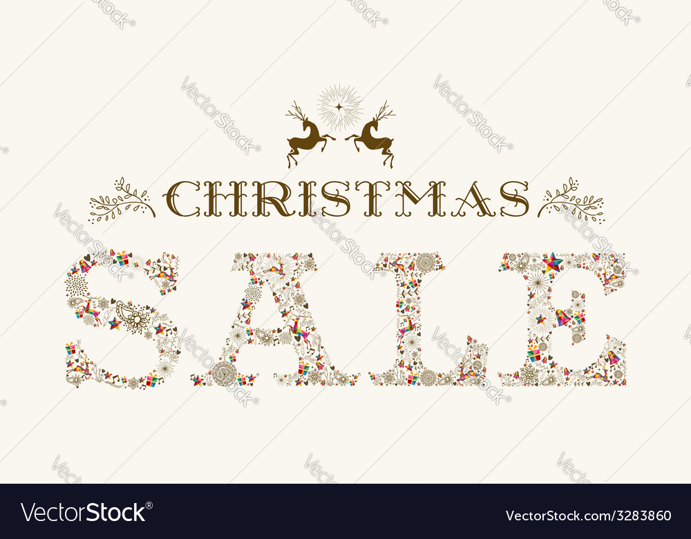 Vintage christmas sale season colorful reindeer vector | Price: 1 Credit (USD $1)
