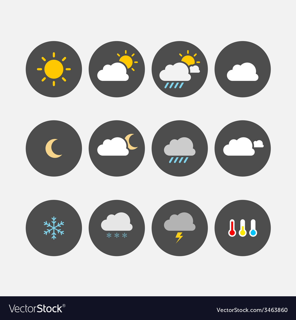 Weather icons simple flat vector | Price: 1 Credit (USD $1)