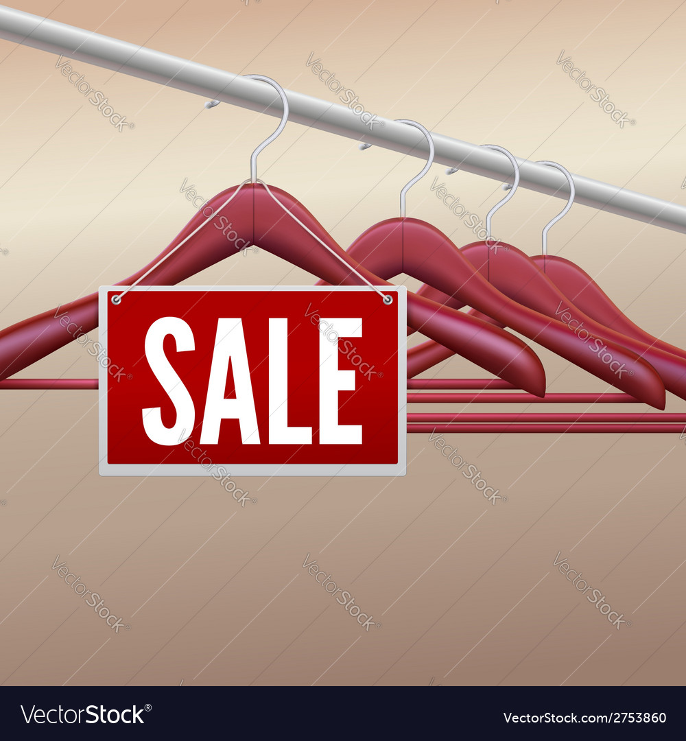 Wooden clothes hangers with sale label vector   Price: 1 Credit (USD $1)