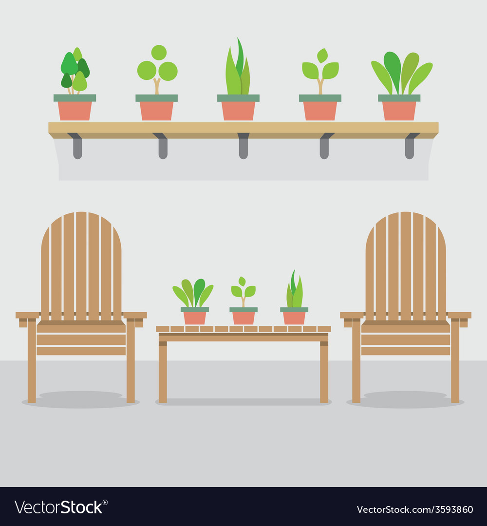 Wooden garden chairs and pot plants vector | Price: 1 Credit (USD $1)