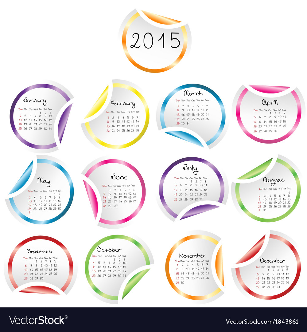 2015 calendar with round glossy stickers vector | Price: 1 Credit (USD $1)