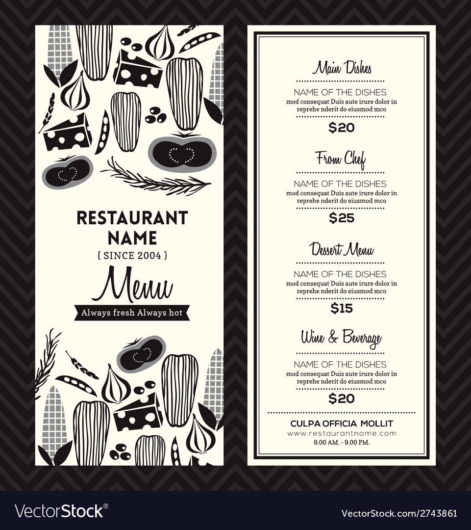 Black and white restaurant menu design template vector | Price: 1 Credit (USD $1)