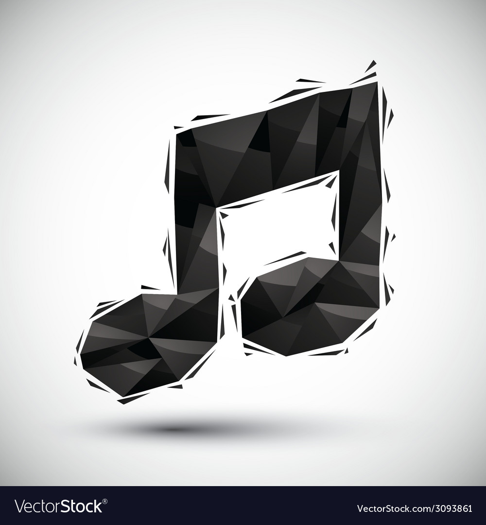 Black musical note geometric icon made in 3d vector | Price: 1 Credit (USD $1)