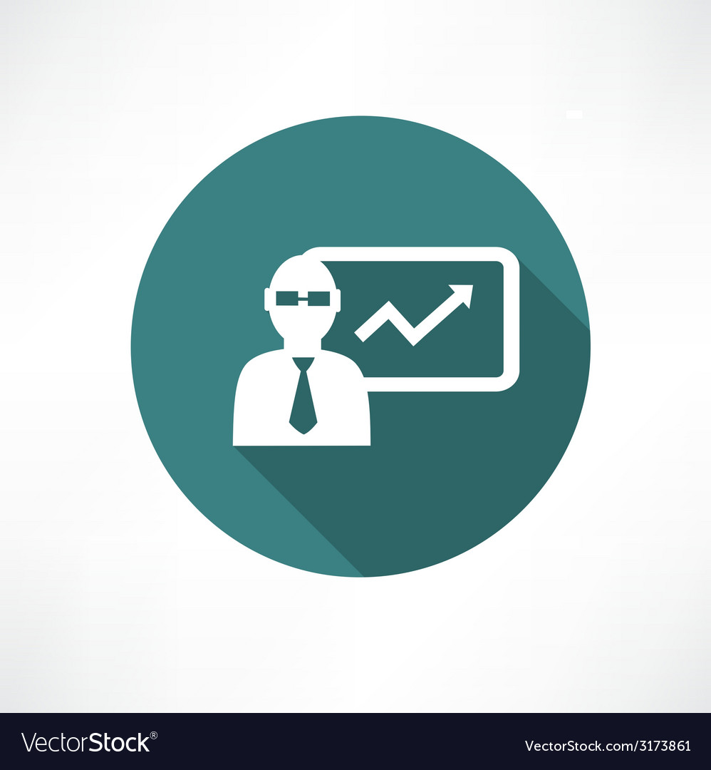 Businessman with graph icon vector | Price: 1 Credit (USD $1)