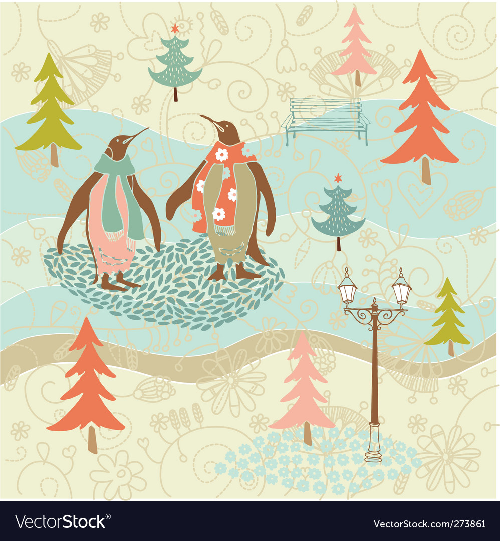 Christmas card with penguins vector | Price: 3 Credit (USD $3)