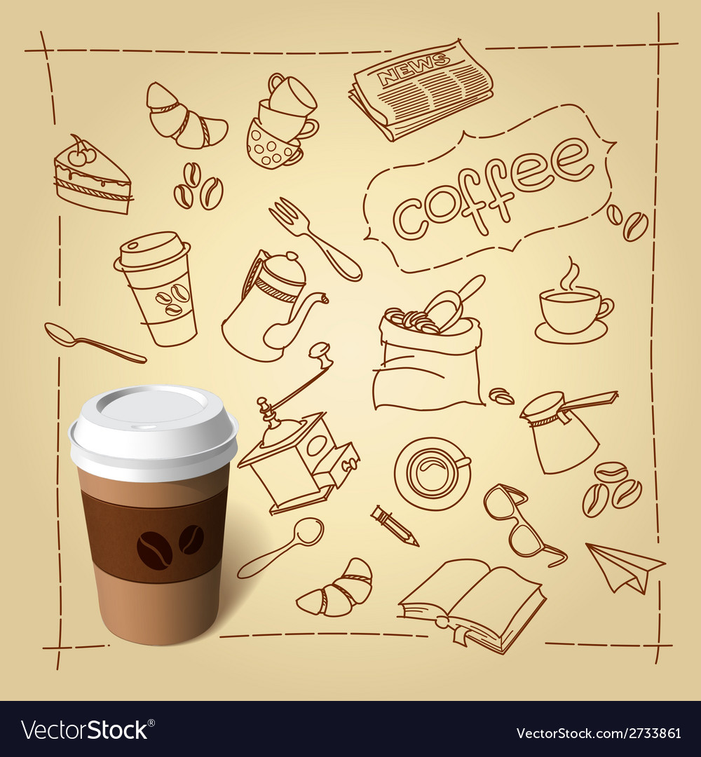 Coffee break doodles and paper cap vector | Price: 1 Credit (USD $1)