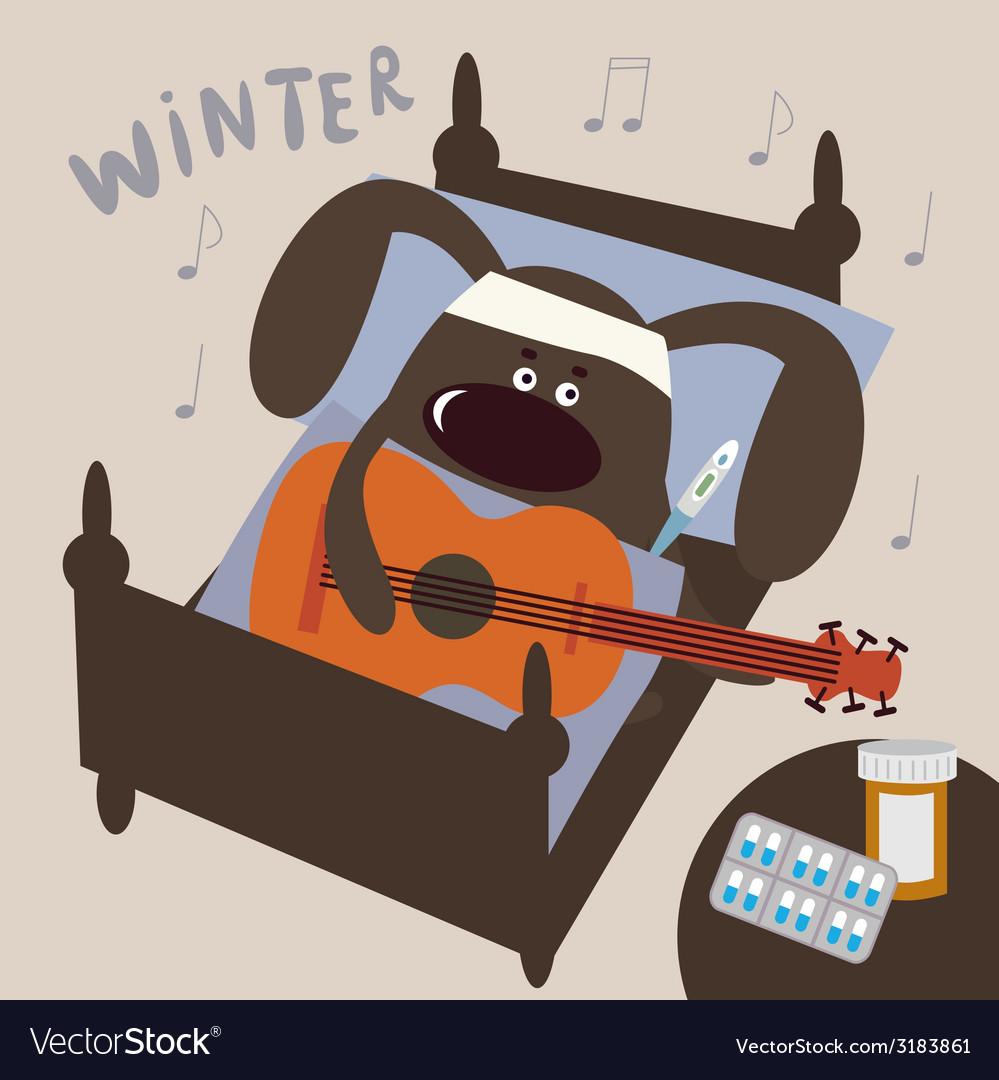 Cute sick doggie musician vector | Price: 1 Credit (USD $1)
