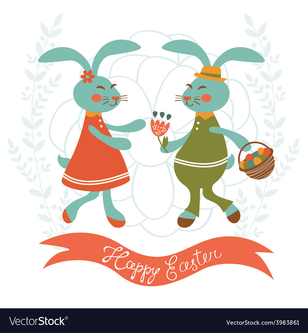Easter card with cute rabbits couple vector | Price: 1 Credit (USD $1)