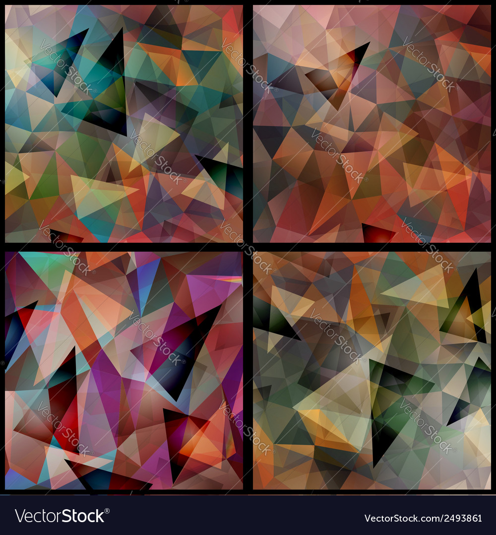 Geometric triangle patterns set vector | Price: 1 Credit (USD $1)