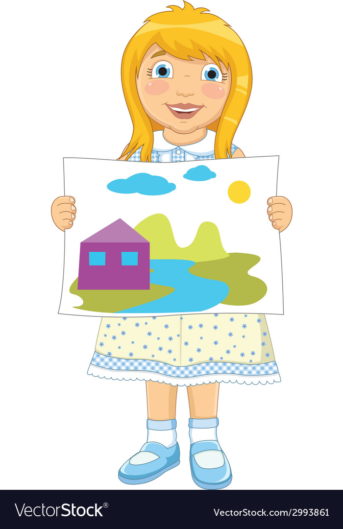 Girl painting vector | Price: 1 Credit (USD $1)