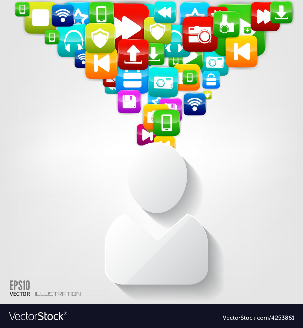 Person icon application buttonsocial mediacloud vector | Price: 3 Credit (USD $3)
