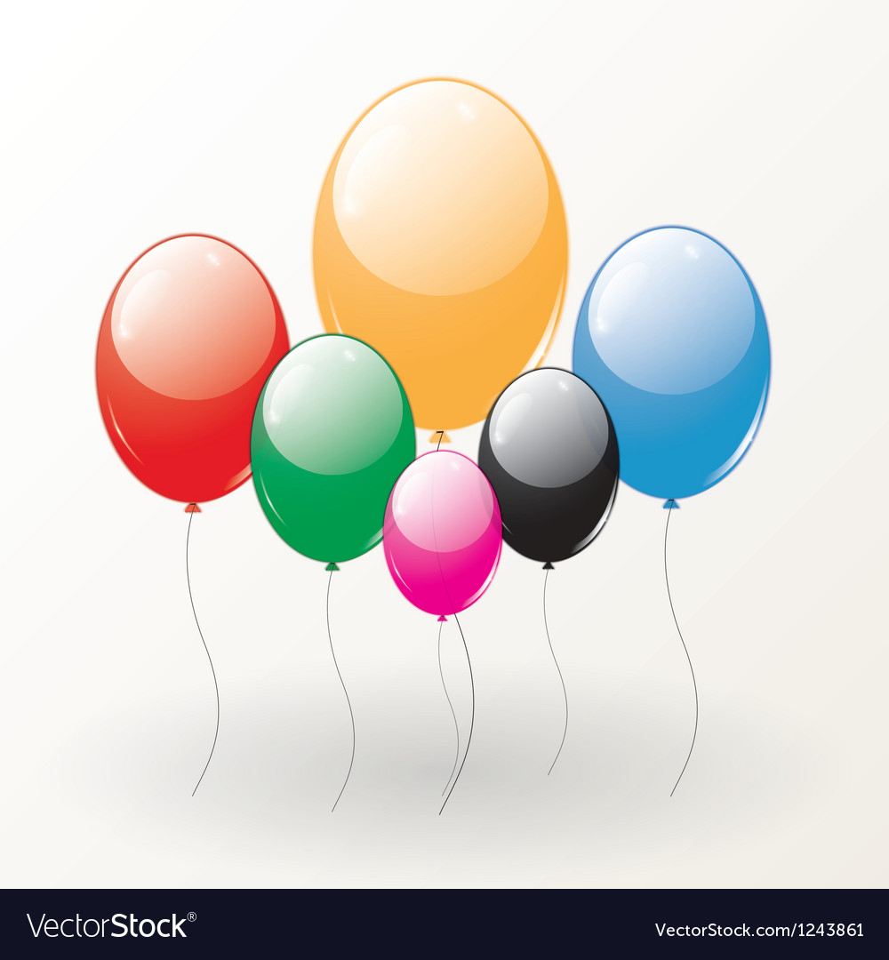 Set of colored balloons vector   Price: 1 Credit (USD $1)