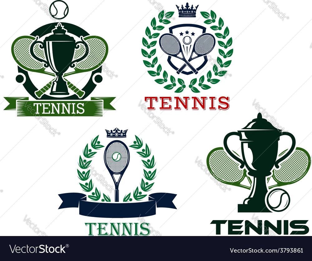 Set of tennis emblems or badges vector   Price: 1 Credit (USD $1)