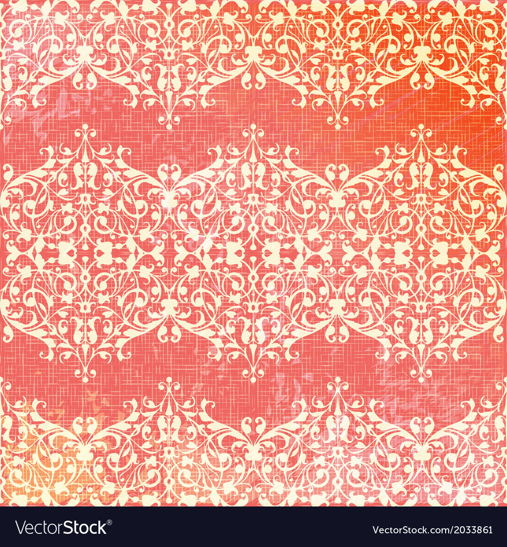 Vintage beige and pink floral seamless pattern vector | Price: 1 Credit (USD $1)