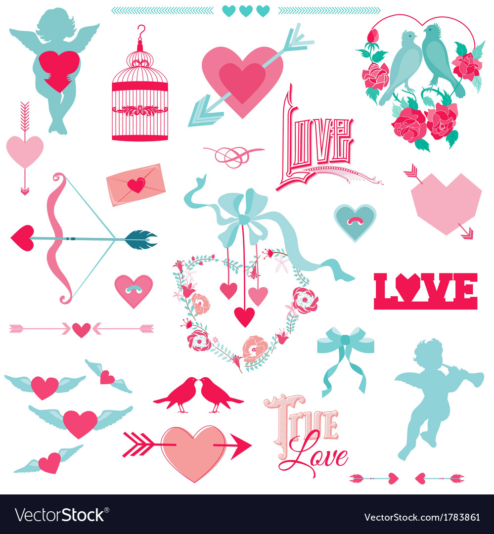 Vintage love elements vector | Price: 1 Credit (USD $1)