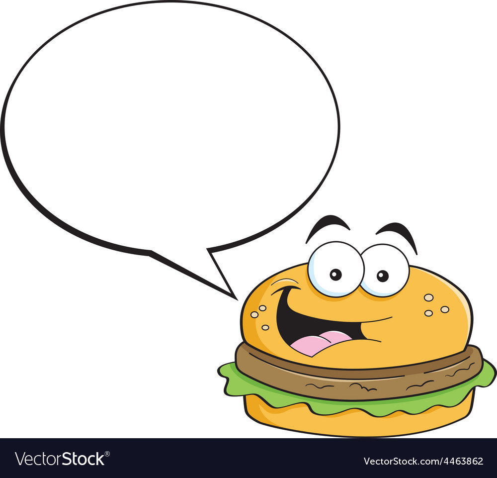 Cartoon hamburger with a caption balloon vector | Price: 1 Credit (USD $1)